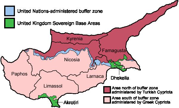 Turecká čast ostrova Kypr na mapě
