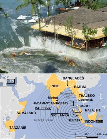 Šíření vlny tsunami k pobřeží Thajska