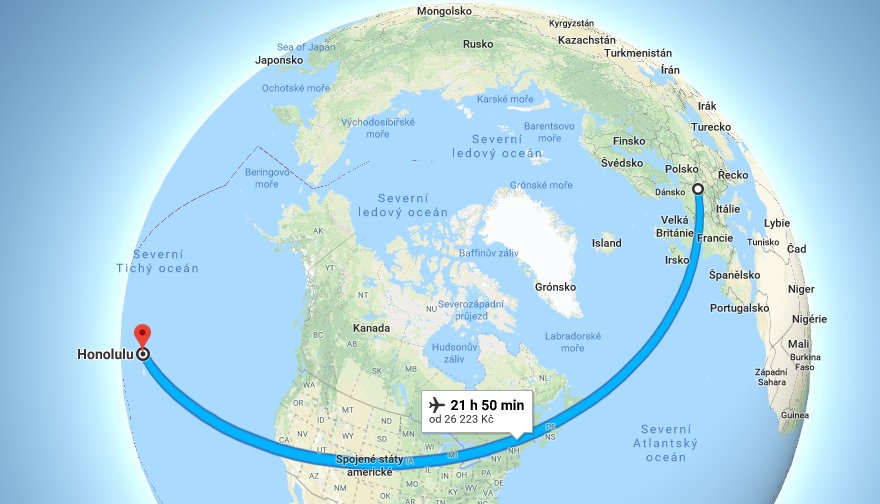 Doba a délka letu z Prahy na Havajské ostrovy