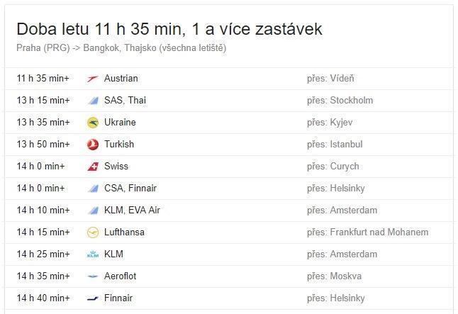 Doba letu z Prahy do Thajska