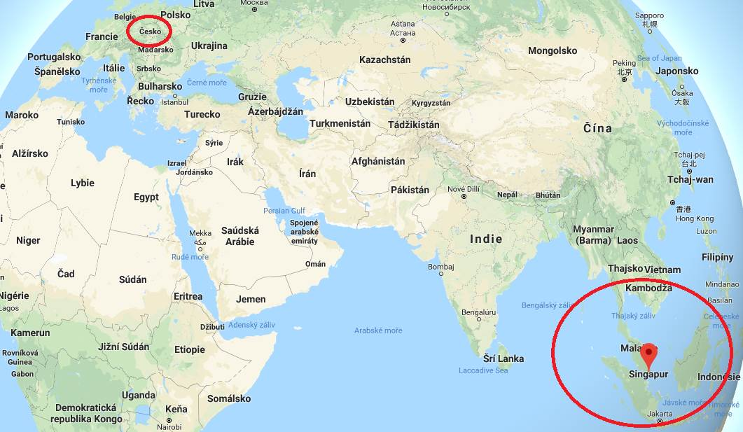 Poloha Singapuru na mapě světa