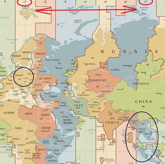 Thajsko časová pásma na mapě i aktuální čas
