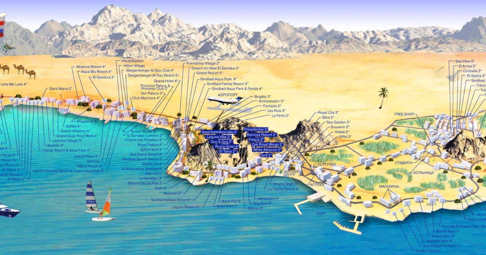 hurghada-mapa-hotelů