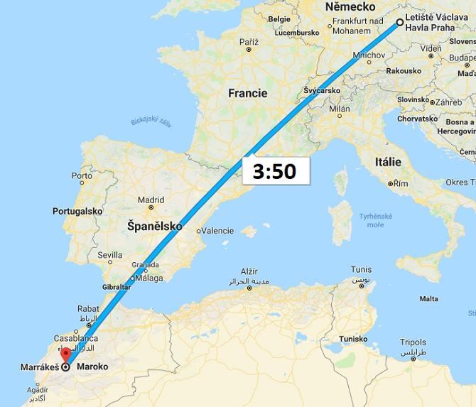 Doba-letu-Praha-Maroko