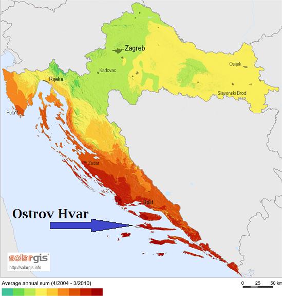 Počasí ostrov Hvar Chorvatsko