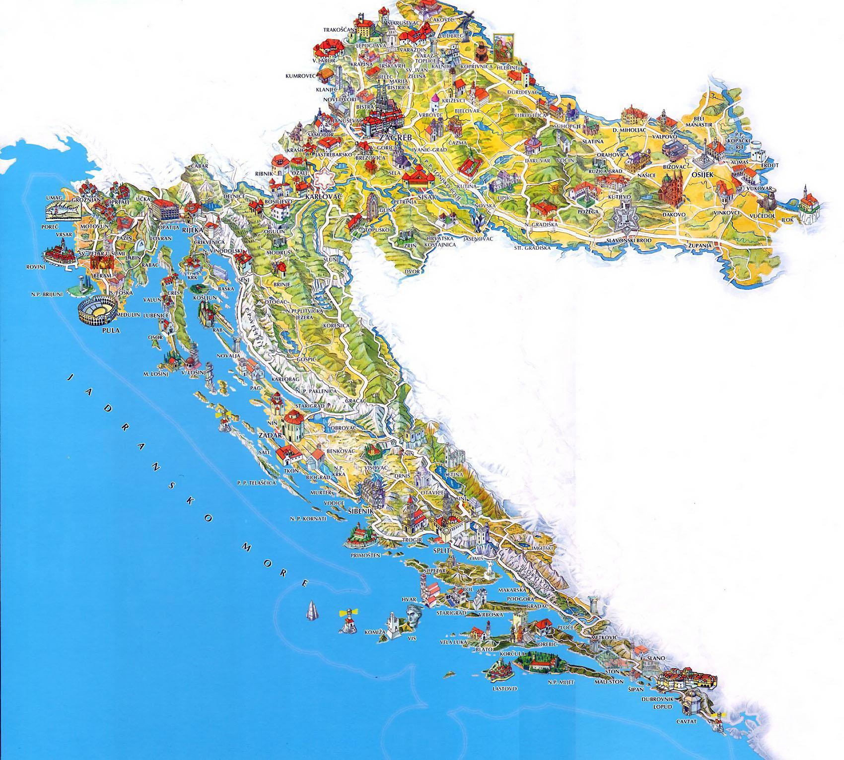 Chorvatsko Mapa Pobrezi Letovisek Online Ke Stazeni Pdf