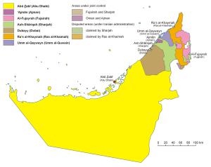 7 emirátů v SAE na mapě
