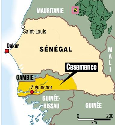 Casamance v Senegalu poloha