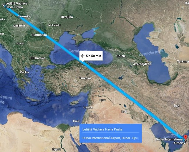Doba-letu-z-Prahy-do-Dubaje-Spojené-arabské-emiráty-1