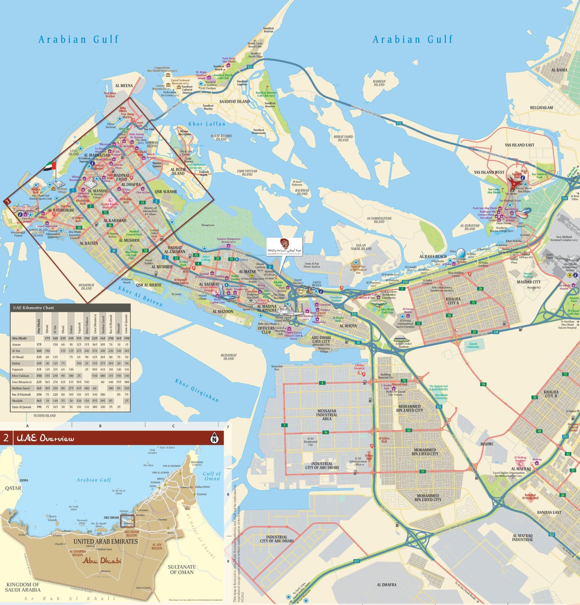 Abu Dhabi Mapa Online Ke Stazeni Spojene Arabske Emiraty