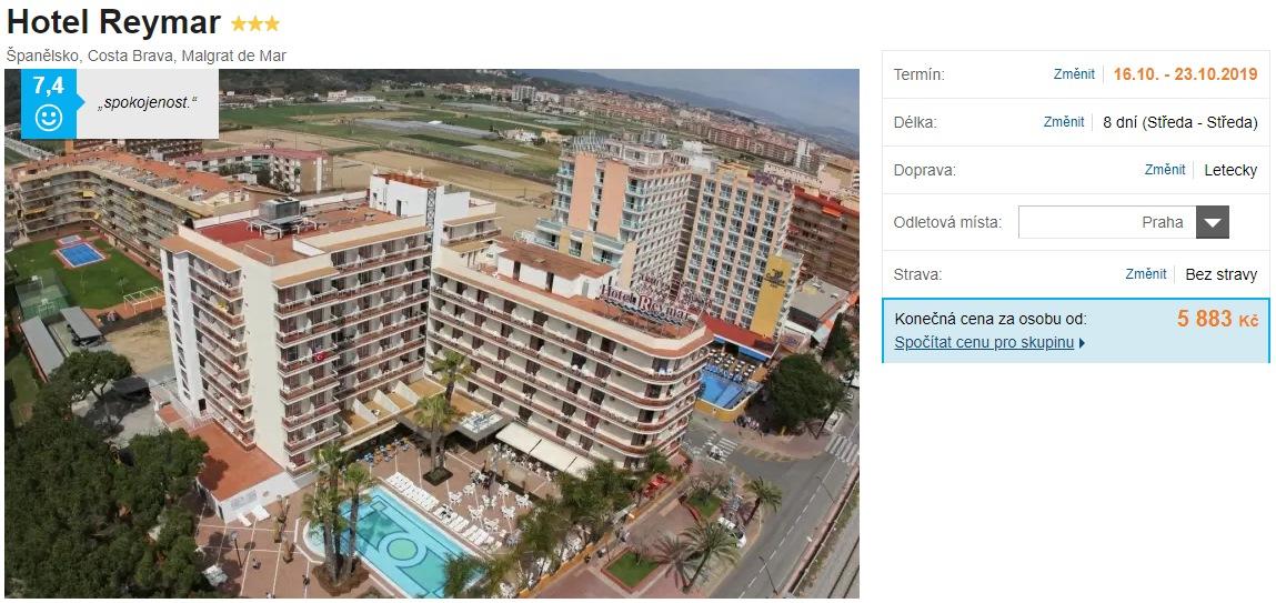 Hotel pro seniory Španělsko Costa Brava