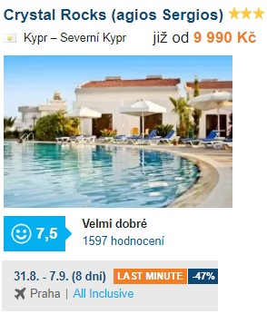 Last minute zájezd na Kypr s odletem z Prahy