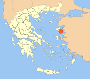 poloha ostrova Lesbos