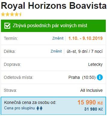 Royal Horizons Boavista Kapverdské ostrovy letecky s All Inclusive s odletem z Prahy