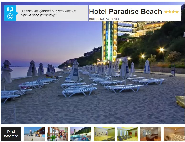 Hotel Paradise Beach Bulharsko recenze resortu