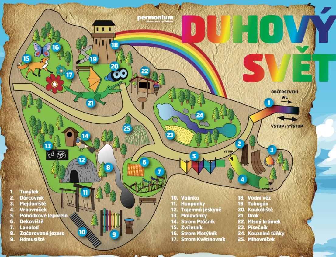 Permonium zábavní park Mapa atrakcí