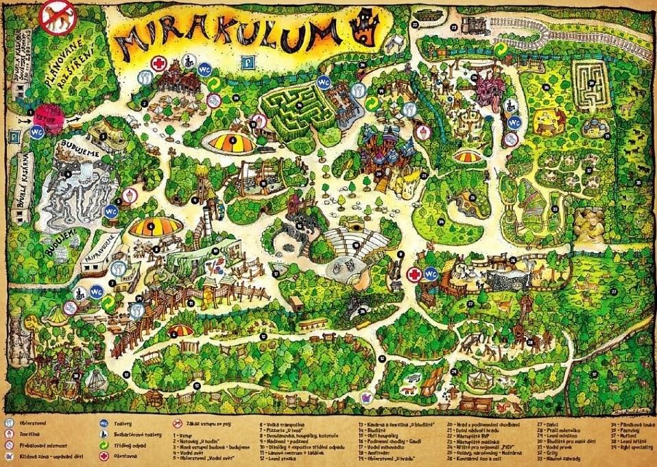 Zábavní park Mirakulum mapa areálu atrakcí