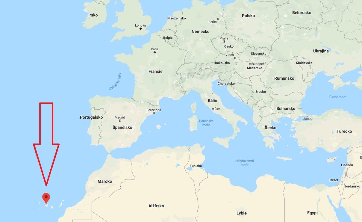 Kde leží na mapě Kanárské ostrovy poloha