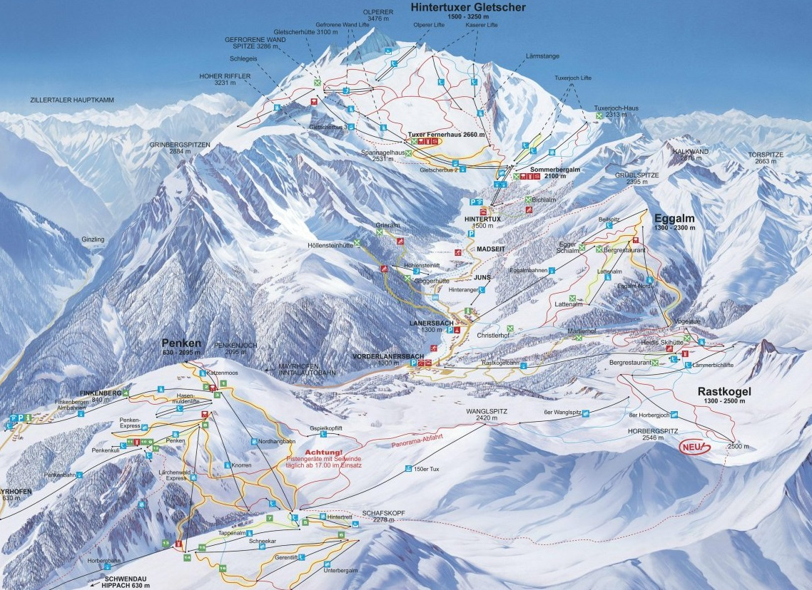 Ledovec Hintertux v Rakousku mapa areálu