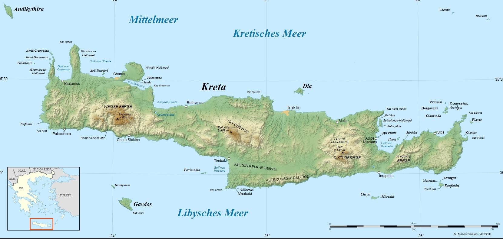 Mapa Kréty ke stažení