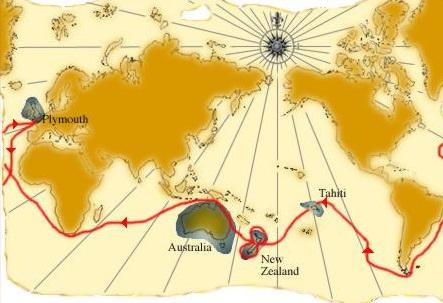 Mapa plavby Jamese Cooka na Havajské ostrovy