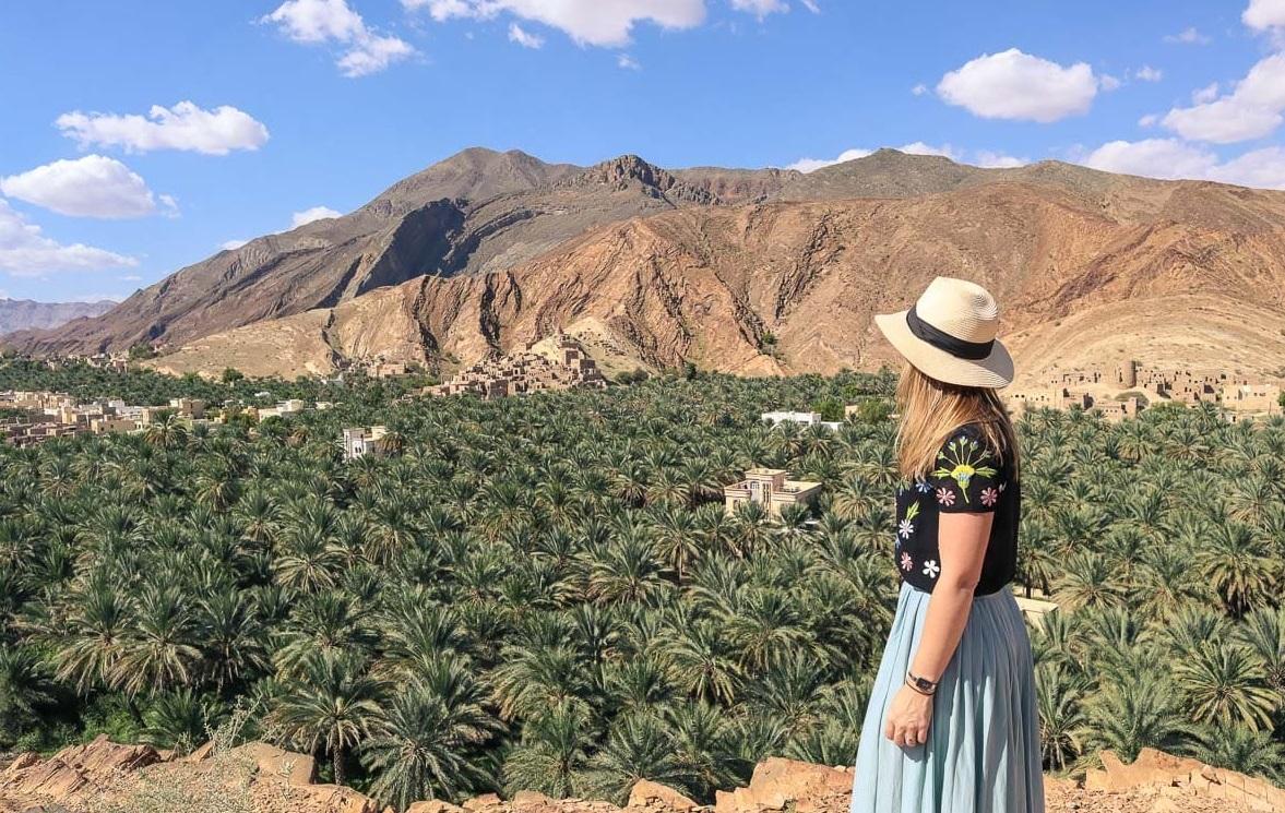 Výhled na palmový háj ve vnitrozemí Ománu