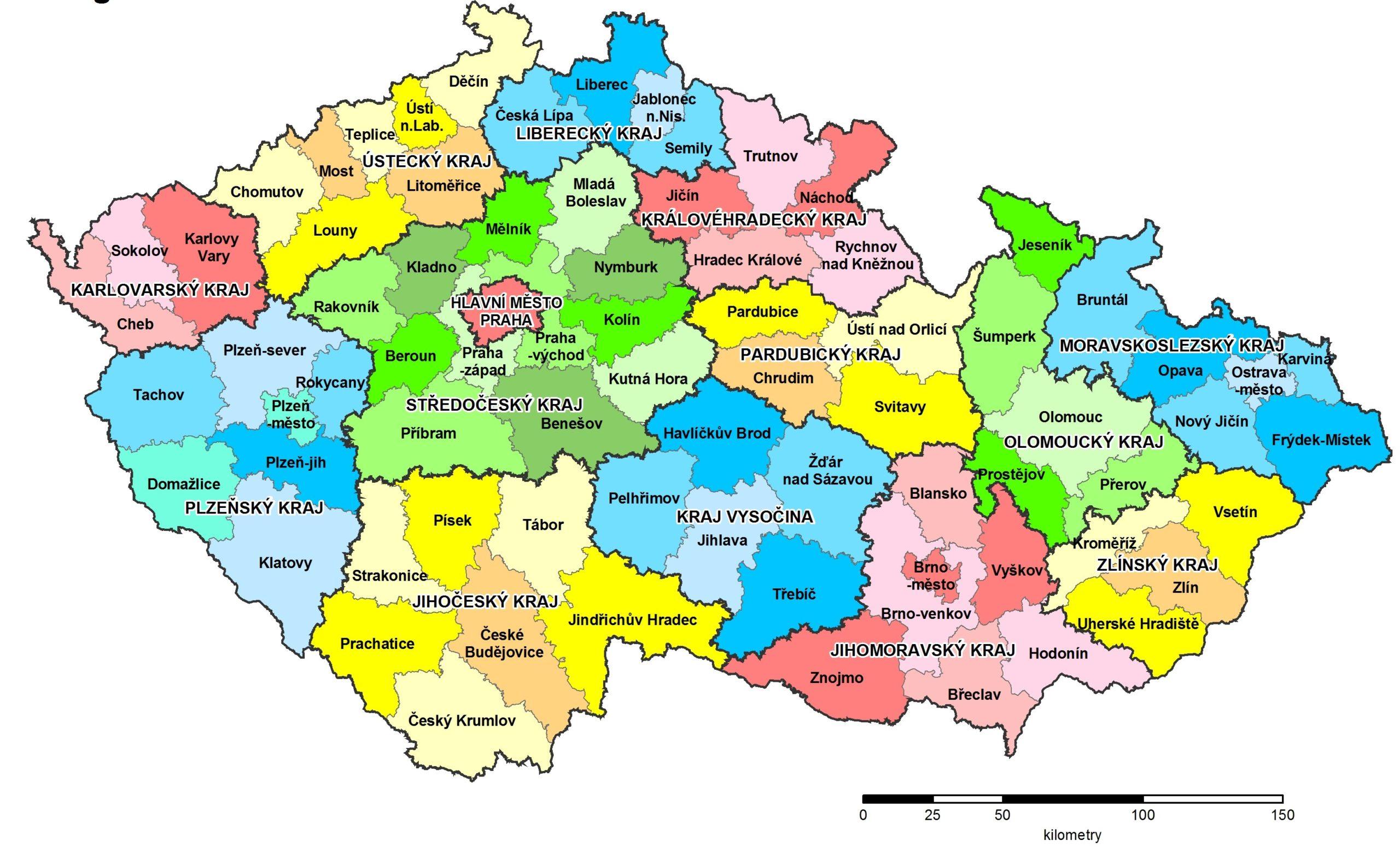 Kraje a okresy v České republice na mapě