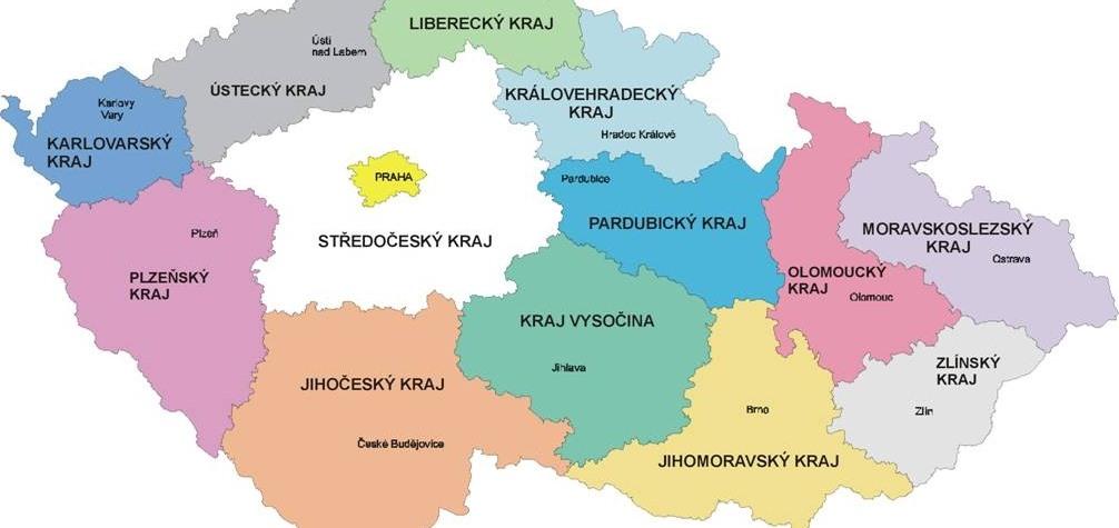 Mapa krajů ČR hranice názvy a města
