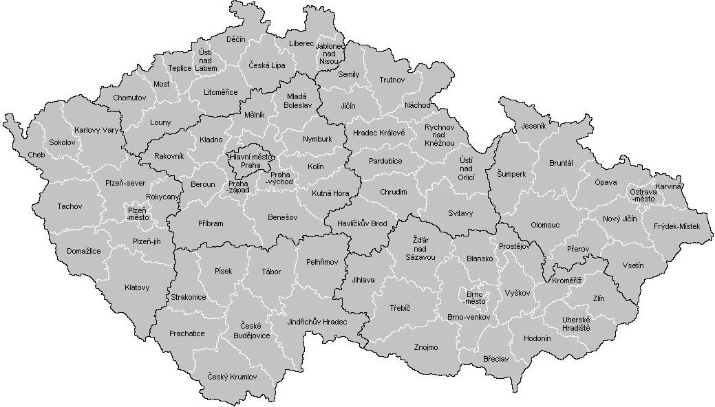 Mapa okresy a kraje ČR